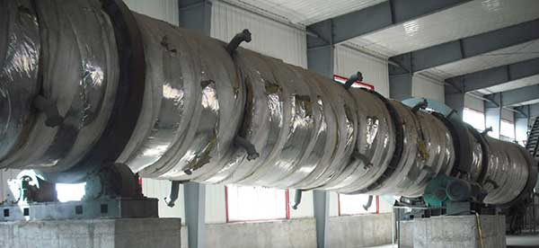 rotary drum dryer with insulation